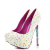 Women's White Floral Print Stiletto Heels Almond Toe Platform Shoes thumb 4