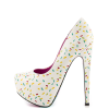 Women's White Floral Print Stiletto Heels Almond Toe Platform Shoes thumb 5