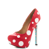 Red Santa Claus Print Stiletto Heels Almond Toe Platform Shoes thumb 4