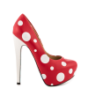 Red Santa Claus Print Stiletto Heels Almond Toe Platform Shoes thumb 5