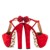 Women's Red Cute T-Strap Sandals Floral Heels Slingback Shoes thumb 3