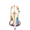 Women's Champagne and Black Poker T-Strap Sandals Open Toe Cone Heels thumb 3