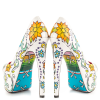 Women's Cute Flower Printed Stiletto Heels Almond Toe Platform Heels thumb 2