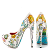 Women's Cute Flower Printed Stiletto Heels Almond Toe Platform Heels thumb 4