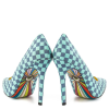 4 Inch Heels Blue Plaid Printed Pointy Toe Stiletto Heels Pumps for Women  thumb 3
