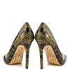 Black and Gold 4 Inch Heels Floral Printed Pointy Toe Stiletto Heels Pumps thumb 3