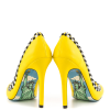 Women's Yellow Rhinestone Dress Shoes Floral Printed Stiletto Heels Pumps thumb 4