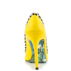 Women's Yellow Rhinestone Dress Shoes Floral Printed Stiletto Heels Pumps thumb 3