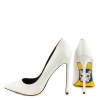 White Stiletto Heels Office Shoes Floral Heels Pumps thumb 2