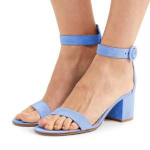 Women S Light Blue Suede Chunky Heel Ankle Strap Sandals