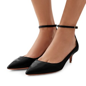 Women S Black Patent Leather Pointed Toe Ankle Strap