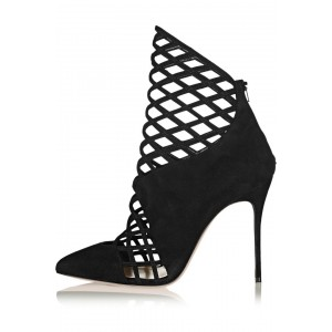 Black Caged Cut out Ankle Booties
