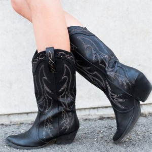 Black Cowgirl Boots Vintage Chunky Heel