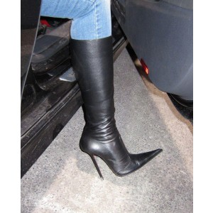 Black Custom Made Pointy Toe Stiletto Boots For Work Date