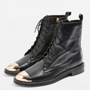 Black Lace Up Boots With Gold Toe for