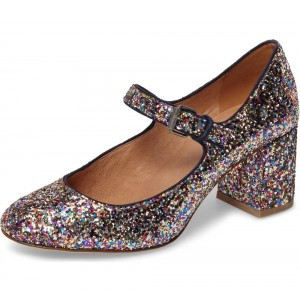 0ac6dcb734c2 Colors Glitter Block Heels Round Toe Mary Jane Pumps for Date ...
