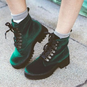 Emerald Green Velvet Boots Round Toe Lace Up Short Boots