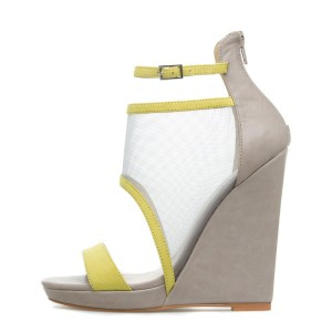 19228b138dd1 Grey Mesh Wedge Sandals Open Toe Ankle Strap Platform Sandals for Work