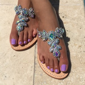colorful jeweled sandals flat summer beach flip flops for