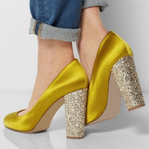 Gold Sparkly Heels Glitter Satin Chunky Heel Pumps For