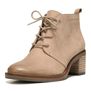 829a519bd4c Taupe Short Boots Round Toe Lace up Wooden Block Heel Ankle Boots