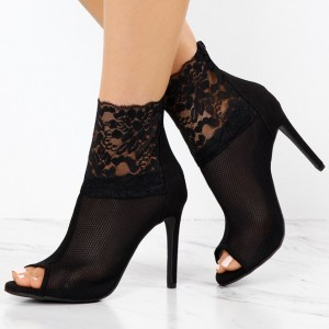 0ab21f20589bb Women's Black Lace Floral Stiletto Heels Peep Toe Ankle Booties for Work,  Party, Dancing club, Music festival, Date, Going out, Honeymoon | FSJ