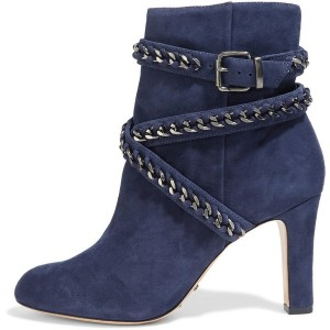 Navy Ankle Booties Chain Strappy Suede Chunky Heel Short