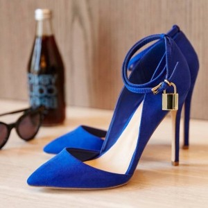 Women s Royal Blue Stiletto Heels Dress Shoes Pointy Toe Suede Pumps for  Work