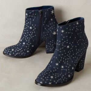Navy Blue Boots Constellation Style Witch Boots for