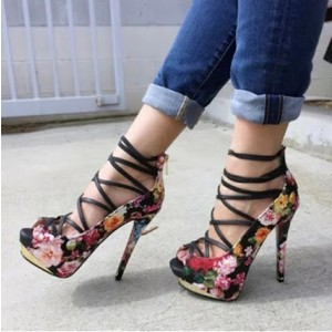 Floral Heels Strappy Platform Pumps High Heel Shoes For