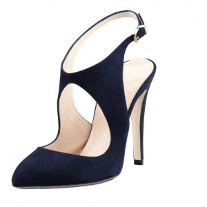 Navy Slingback Heels Suede Cut Out Closed Toe Sandals For