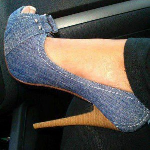 blue jean heels peep toe denim stiletto heel platform