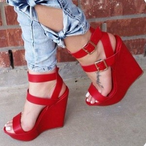 36c1fb2356d Red Wedge Sandals Open Toe Platform Heels with Buckles by FSJ