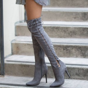 Grey Long Boots Suede Side Thigh High Lace Up Boots For