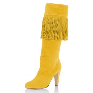 Yellow Suede Fringe Chunky Heel Boots Knee High Boots For Work