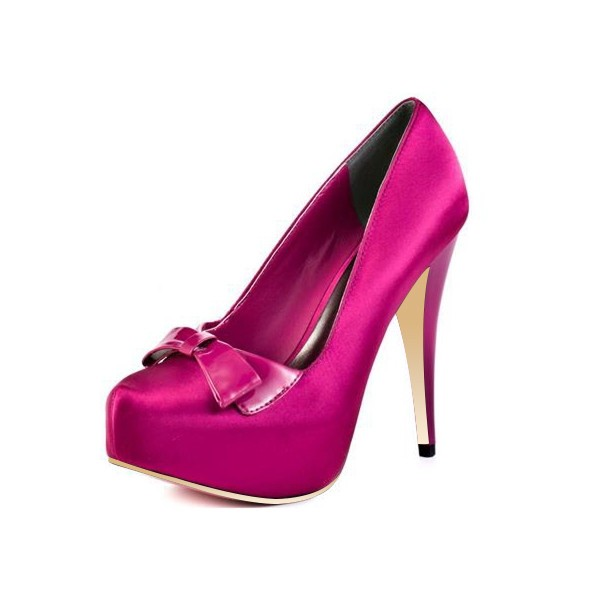 Magenta Satin Bow Heels Closed Toe Platform Chunky Heel Pumps image 1