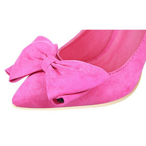 Fuchsia Bow Heels Pointy Toe Suede Stiletto Heel Pumps image 2