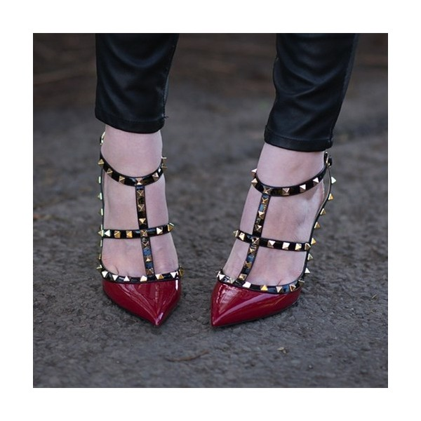 Women's Red T-Strap Rivets Stiletto Heel Pumps  image 1