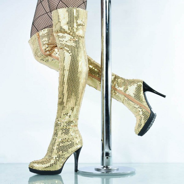 Gold Sequin Boots Closed Toe Over-the-Knee Stripper Boots image 1