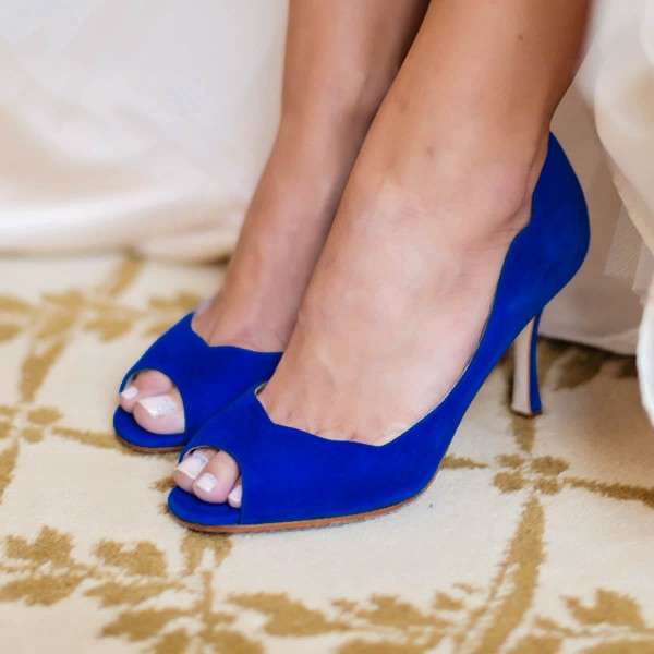 Royal Blue Suede Wedding Heels Peep Toe Pumps US Size 3-15 image 1