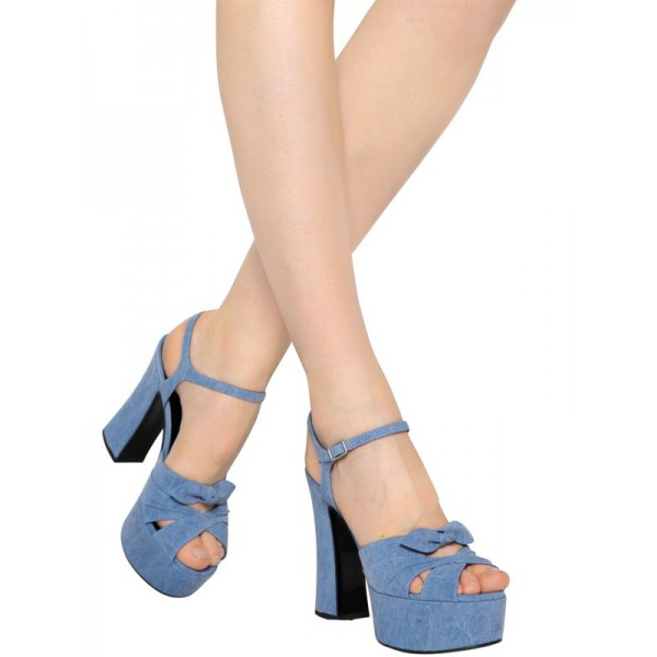 Blue Jean Heels Peep Toe Denim Chunky Heel Platform Sandals with Bow image 2