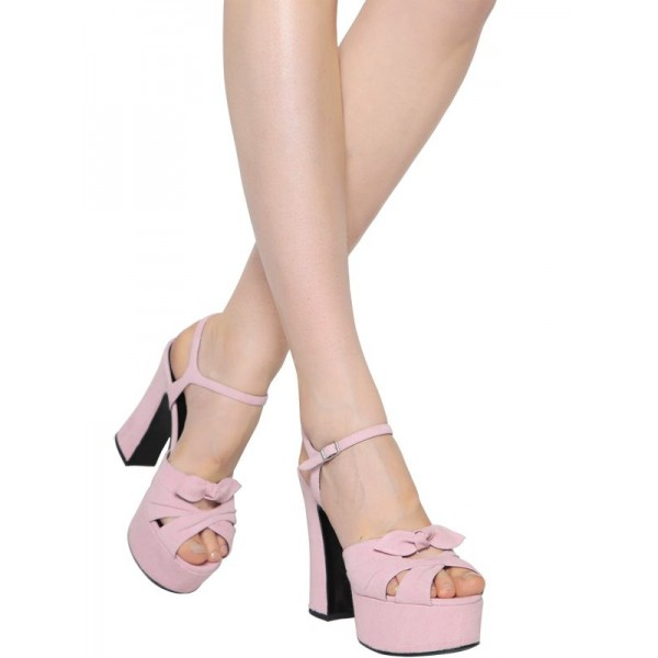 FSJ Pink Chunky Heel Sandals Peep Toe Platform High Heels with Bow image 2