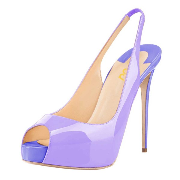 Lavender Slingback Pumps Peep Toe Stiletto Heel Shoes with Platform image 1