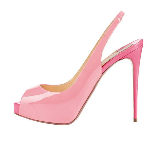 Women's Pink Stiletto Heels Peep Toe Patent Leather Cute Shoes Slingback Pumps with Platform image 3
