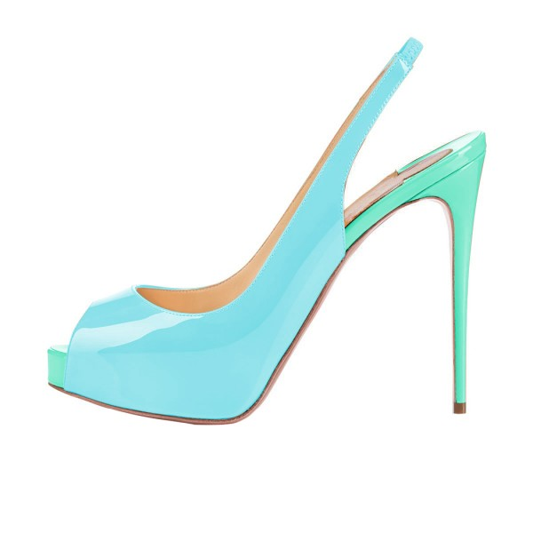 Light Blue Patent Leather Slingback Heels Peep Toe Stiletto Heel Pumps image 2