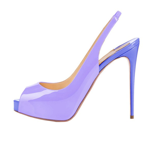 Lavender Slingback Pumps Peep Toe Stiletto Heel Shoes with Platform  image 2