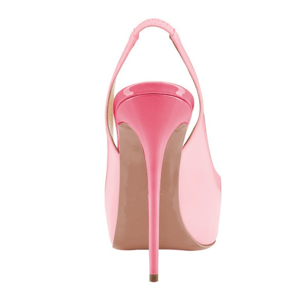 Pink Stiletto Heels Peep Toe Patent Leather Platform Slingback Pumps image 2