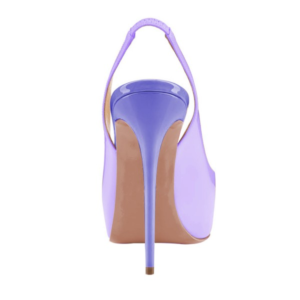 Lavender Slingback Pumps Peep Toe Stiletto Heel Shoes with Platform image 3