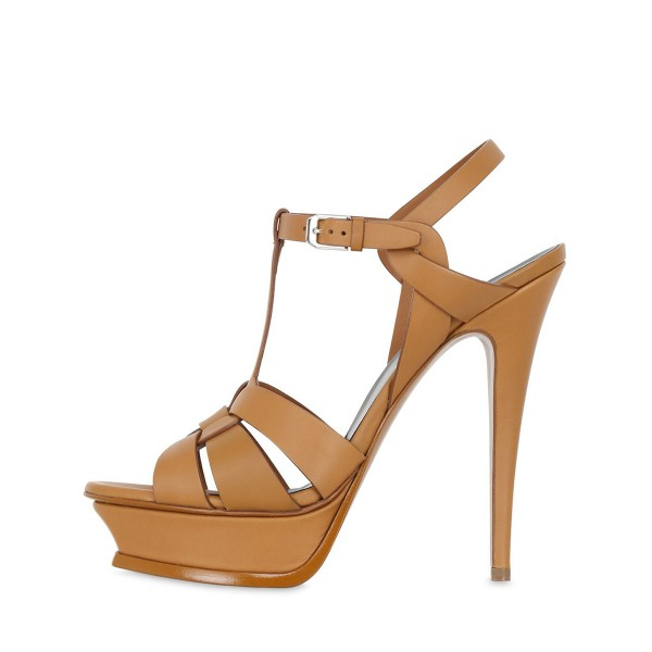Tan Heels T Strap Platform Stiletto Heel Sandals for Office Lady image 2