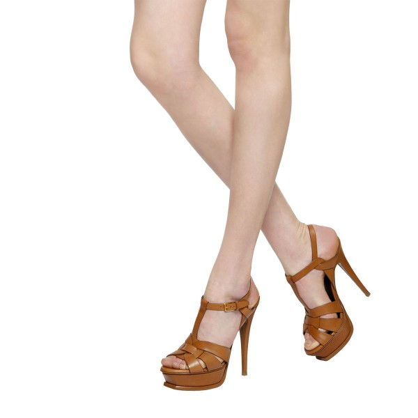 Tan Heels T Strap Platform Stiletto Heel Sandals for Office Lady image 3